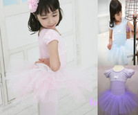 Wholesale and retail pink purple Short sleeve y years kid s TUTU skort lace Girl s one piece dress Free freight