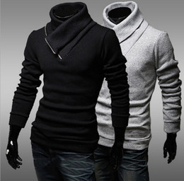 Wholesale Autumn Hot sell sweaters mens sweaters oblique zip man sweater pullover men turtleneck sweater cotton apparel