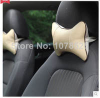 auto cushion seats - New Genuine leather headrest neck pillow Car Auto Seat cover Head Neck Rest Cushion Headrest Pillow