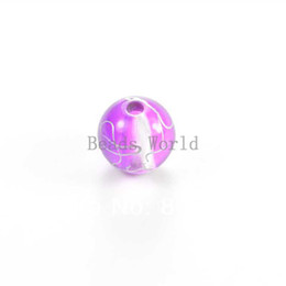 Free Shipping 100 Pcs Purple Crackle Round Acrylic Spacer Beads 12mm(W03312 X 1)