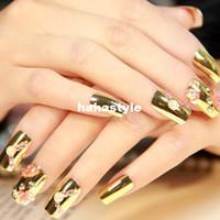 Cheap Metalic gold false nails tips for sale,acrylic false nails art display,photo bridal nails patch.4.17053.Free shipping