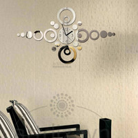 Wholesale New DIY D Home Modern Decoration Crystal Mirror Wall Clock decorative Silver digital wall clock kitchen Free shippng Z025