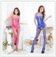 Wholesale 5 Colors Sexy Lace Mesh bodystocking Nightgown Sexy body Lingerie Gauze Women Exposed Breast Jumpsuits Latex Bodysuit W1491