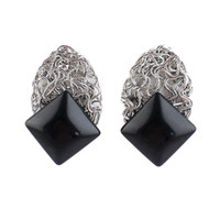 Wholesale Double Earrings Luxury Jewelry New Coming Black Imitation Gemstone Stud Earrings for Women Acessorios Para Mulher