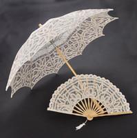 Lace victorian parasol - vintage black handmade gothic lolita cotton SUN BATTEN victorian LACE PARASOL UMBRELLA and fan H108s