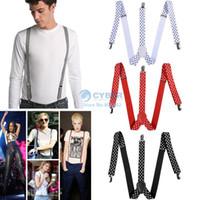 Wholesale 1PC New Mens Womens Unisex Clip on Suspenders Elastic Y Shape Adjustable Braces White Red Blue Black SV004526