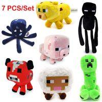 Wholesale 7Pcs set Genuine JJ dolls stuffed plush Minecraft Creeper Coolie afraid of plush toys of My World Nice Gift