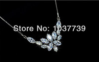Chains Cubic Zirconia Fashion Ice Flower Marquise-cut Swiss CZ Diamond Bridal Pendant Necklace Free Shipping(CWW CP005)