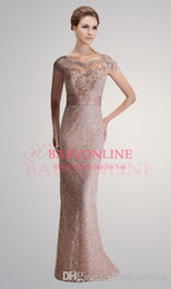 Wholesale 2014 Latest Lace Mother Of The Bride Dresses Crew Neck Short Sleeve Beaded Party Evening Dresses D00