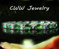 Wholesale Luxury Synthetic Gemstone Jewelry Silver plated Emerald Green Zircon Crystal Charm Bracelets Bangles For Women CB061