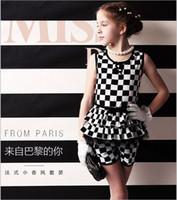 Wholesale 2014 big girls princess sets children fashion chiffon outfits sleeveless suit kids summer clothing plaid gmy