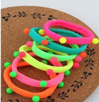 Wholesale New Fashion Korean Style Women Hair Band Rivet Ball Fluorescent Nylon Hair Ring Candy Colors