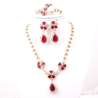 Wedding Jewelry Sets Celtic Gift Red Zircon Jewelry Latest Design 18K Gold Plated African Fashion Costume Jewelry Sets High Quality For Women Wedding Bridal Party Gifts