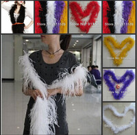 Wedding ostrich feather boas - New Arrival cm quot Ostrich Feather Strip Wedding Party Feather Boa Stage Cosplay Props Fashion Scarf Color Selected