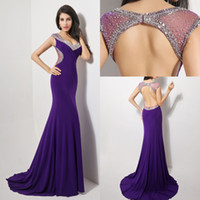 Cheap Model Pictures backless prom dresses Best V-Neck spandex crystal prom gowns