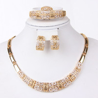 Wholesale African fashion Women k Gold Plated Crystal Necklace Bracelet Earrings set jewelry Wedding Bridal Costume Party gift Jewelry Sets