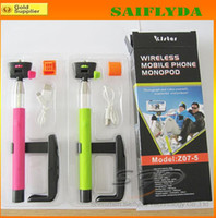 Wholesale Extendable Handheld Self portrait Monopod selfie stick Photograph Bluetooth Shutter Camera Remote Controller for smartphone Monopod