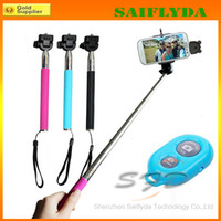 Wholesale Extendable Handheld Self portrait Monopod selfie stick Photograph Bluetooth Shutter Camera Remote Controller for iPhone Samsung Monopod