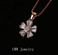 Beaded Necklaces Women's Necklaces Sparkling ! White Cubic Zirconia Diamond 18K Rose Gold Plated Flower Pendant Necklace For Girls Gifts Free Shipping (CP035)