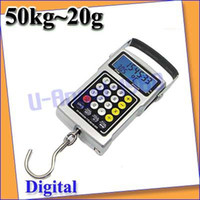 <50g Pocket Scale 50kg Wholesale-OP-Free shipping+50Kg Digital Fish Luggage Hook Hanging Weighting Scale