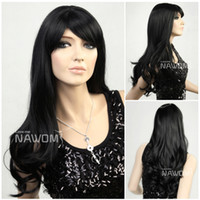 Wholesale women hair weaves long black wig with a bang funky wigs Synthetic fiber of Kanekalon pc S418