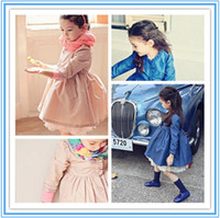 Cheap New full Korean Fans coat for kids Kids with lace Stand collar Blue Pink Color Coat Baby Clothes Modem Style Coat Small Long Windbreaker