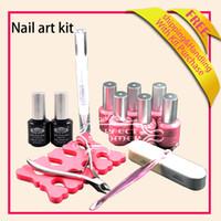 UV Gel Nail Art Set Yes Acrylic Powder & Liquid Wholesale-OP-Nail Art Soak Off Polish Kit Top Base Coat Glitter Color Gel Tools 14 pcs gel polish set Free shipping