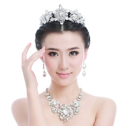 Wholesale 2015 New Arrival Luxury Crystal Bridal Jewelry Earrings Tiara Necklace Wedding Accessories