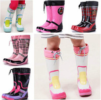 Wholesale Brand New Children s Fashion Mixed Colors Rubber Rain Boots Boys Girls Waterproof Rainboots Kids Water Shoes Wellies TS65