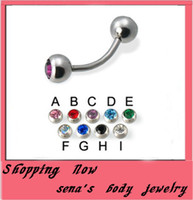 big barbell - OP Eyebrow piercings ring E02 big mix10color crystal banana eyebrow barbell bar piercing