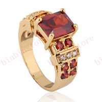 Women's 10kt gold jewelry - Jewelry New charm yellow Gold Filled wedding Ring ruby lady s KT size7 gift hot sell