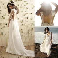 Empire Reference Images V-Neck Bohemian Backless V Neck Flower Boho Beach Bridal Dresses Long Train Sheer Lace Wedding Gowns Cheap 2014 New Romantic Ball Dress Sexy Summer