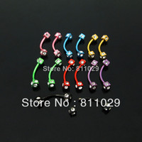 Wholesale OP G mm surgical Stainless Steel plated colors square curved gem many stones piercing eyebrow ring