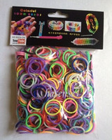 Cheap Wholesale - 500 packs (600 pcs mix Color pack) rainbow Loom Bnads Rubber Wrist Band with 25 S-Clips without Retail Box Packing