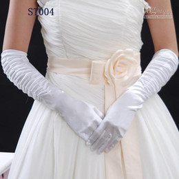Wholesale In Stock Hot Sale New Bridal gloves White Satin and Appliques with lace fingers pleats Cheap Bridal Accessories