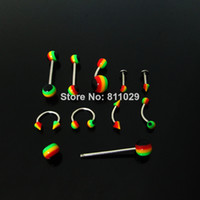 Wholesale OP rasta reggae body jewelry mixed styles stainless steel shaft lip labret eyebrow tongue barbell