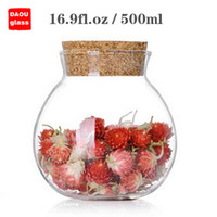 Wholesale 1PC fl oz ml Handmade Heat Resisting Clear Pyrex Glass Tea Flower Caddy Canister Bottle with Wooden Cork Coffee Tea Ware Accessory