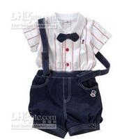 Boy Spring / Autumn  Wholesale - - boy's suits British gentleman Suspenders trousers Bow tie Stripe Short sleeve shirts baby suitsnd