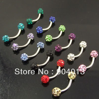 bent barbells - OP g Stainlessl Steel Double Crystal Balls Eyebrow Ring Micro Bent Barbell with Jewely Balls Banana