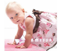 Wholesale AMISSA powder cake ice cream belt section print girl baby dress baby s clothing BH201 KG hot salenb