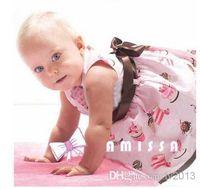 Wholesale AMISSA powder cake ice cream belt section print girl baby dress baby s cl kids cotton lace dressnn
