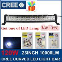 Wholesale Free Gift LED lamp W Cree Curved LED Work Light Bar Spot Flood V V ffroad Truck x4 ATV Lamp