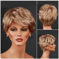 Straight blonde wigs short hair - short blonde hair wig for OL Synthetic fiber of Kanekalon pc W3320