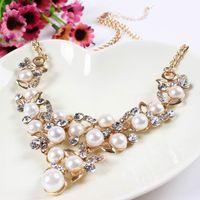 imitation jewelry - Women Imitation Pearl Statement Necklaces Lady Choker Necklaces Splendid Jewelry With Beautiful Beads XL5326