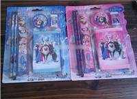 Wholesale Best Selling New Frozen Wallet Suit Children Stationery Set set Pencil ruler pencil sharpener eraser wallet Pink Blue M0237