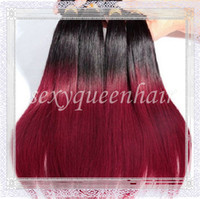 Brazilian Hair Straight Straight Wholesale! Hot!ombre color hair 3PCS LOT 2tone hair sraight virgin color weave Brazilian human hair weft extension boudles DHL free shipping