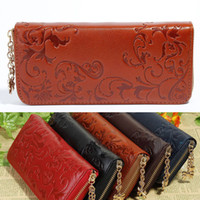 Wholesale For Ladies Pattern Floral Purse Clutch Flower Red Coffee Brown Dark Blue Black Color Wallet Long Genuine Leather Women s Bag H10297