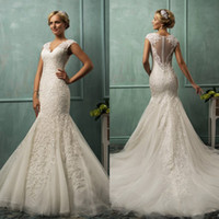 Trumpet/Mermaid Reference Images V-Neck 2014 Mermaid Wedding Dresses Amelia Sposa V Neck Capped Sleeves Sheer Back Lace Applique Court Train Amazing Free Shipping Bridal Gowns