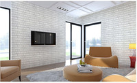 Wholesale Modern Vintage White Grey Brick Style Self Adhesive PVC Wallpaper Bedroom Kitchen Living Room Vinyl Mural Papel De Parede Roll