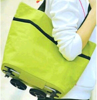 Trolley Plain Polyester Travel Portable Oxford tugboat fashion rack folding shopping cart\foldable shopping trolley tote bag with wheel Rolling